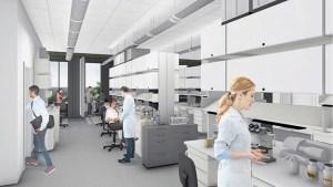 Render of U H Cancer Center lab interior
