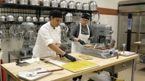 culinary teacher and student making bon bons