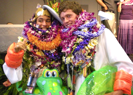 A couple of Makua Lani Christian Academy graduates smile for photos after Saturday's commencement exercises.