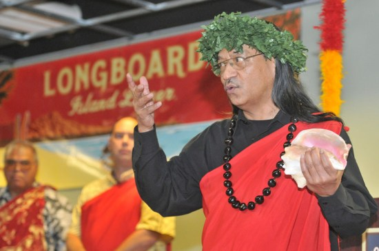 Al Ku'ahi Wong, a leader at Hui Anuenue in New England, recently blessed Kona Brewing Company's partner brewery in Portsmouth, New Hampshire. Photo by Aaron Rohde.