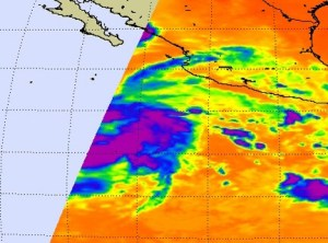 The AIRS instrument on the Aqua satellite captured the eastern half of the low pressure area's cold clouds (in blue and purple) in the Eastern Pacific Ocean on July 14 at 4:29 a.m. EDT (08:29 UTC). The light blue area to the left of the storm was an area outside the satellite's track. Credit: NASA JPL