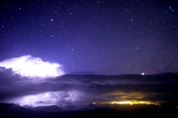 Lightning over the Hamakua Coast early Monday morning as seen through the Canada-France-Hawaii Telescope Cloudcam. Photo courtesy of CFHT