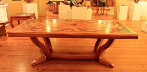 First Place Joinery - Harmony Table by Timothy Allan Shafto, Tiffany DeEtte Shafto, and Joshua Johansen. (Photo courtesy of Hawaii Wood Guild)