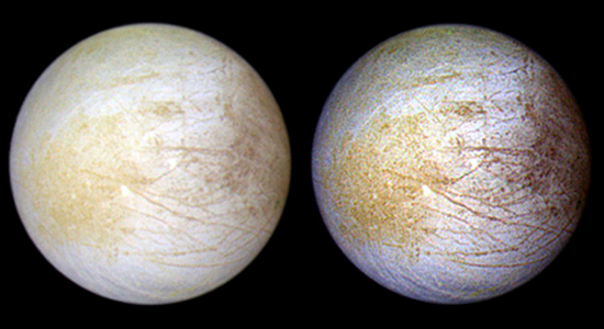 This color composite view combines violet, green, and infrared images of Jupiter's intriguing moon, Europa, for a view of the moon in natural color (left) and in enhanced color designed to bring out subtle color differences in the surface (right). The bright white and bluish part of Europa's surface is composed mostly of water ice, with very few non-ice materials. In contrast, the brownish mottled regions on the right side of the image may be covered by hydrated salts and an unknown red component. The yellowish mottled terrain on the left side of the image is caused by some other unknown component. Long, dark lines are fractures in the crust, some of which are more than 3,000 kilometers (1,850 miles) long. (Image courtesy of NASA / JPL / University of Arizona)