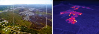 This comparison of a normal photograph and a thermal image shows the position of active breakouts relative to the inactive flow tip. The white box shows the rough extent of the thermal image on the right. In the thermal image, active breakouts are visible as white and yellow areas. Although active breakouts are absent at the inactive tip of the flow, breakouts are present just a short distance behind the tip, and are also scattered further upslope. Photos taken Thursday, January 29, 2015 courtesy of USGS/HVO