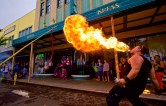 Kyle Kawai of Big Island Shaolin Arts performs firebreathing fronting the Kress building during Chinese New Year celebration in downtown Hilo Saturday, February 21, 2015. Photography by Baron Sekiya | Hawaii 24/7