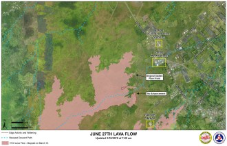 Kilauea June 27 Lava Flow map updated 7 a.m., March 19, 2015. Courtesy of Hawaii County Civil Defense
