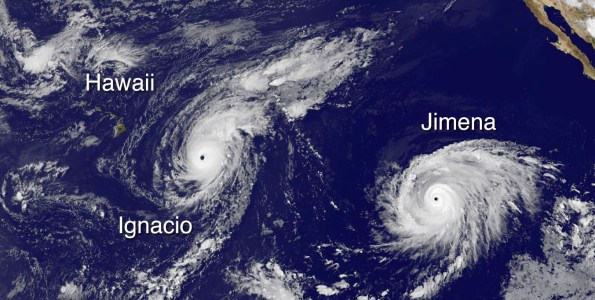Hawaii, Hurricane Ignacio and Hurricane Jimena in this image taken at 5 p.m. HST Saturday, August 29, 2015. Photo courtesy of NOAA-NASA GOES Project