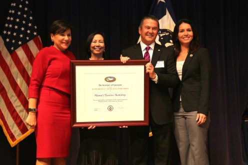 (Left to right): U.S. Secretary of Commerce Penny Pritzker; HTA Director of Communications Charlene Chan, HTA President and CEO, George Szigeti; Rep. Tulsi Gabbard.