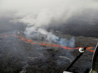 The morning of Wednesday (May 25, 2016), the northern breakout on Puʻu ʻŌʻō was feeding an impressive channel of lava that extended about 950 m (0.6 mi) northwest of the cone. This channel was about 10 m (32 ft) wide as of 8:30 a.m., HST. Photo taken Wednesday, May 25, 2016 courtesy of USGS/HVO