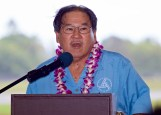 Ford Fuchigami, Director of the Hawaii State Department of Transportation, makes some opening remarks during the dedication ceremony of the new Hilo International Airport Aircraft Rescue and Firefighting Station Friday, July 29, 2016. Photography by Baron Sekiya | Hawaii 24/7