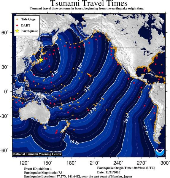 Travel time for any initial sea level changes seen on Hawaii Island is 7-8 hours from the Japan quake event, about 6-7 p.m. HST Monday (Nov 21)