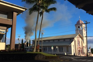The fire on Ohai Street could be seen throughout Hilo, this is a view from St. Joseph Church. Photography by Baron Sekiya | Hawaii 24/7