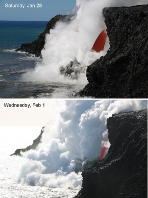This image comparison shows the changing nature of the lava stream between Saturday, January 28 and Wednesday, February 1. The lava stream has become much more narrow, as viewed from this angle. Photo taken Wednesday, February 1, 2017 courtesy of USGS/HVO