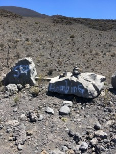 Graffitti found at Mauna Kea Ice Age Natural Area Reserve. DLNR Photo.
