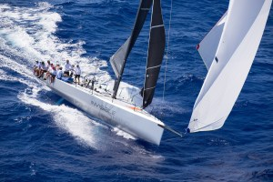 Invisible Hand at the Diamon Head finish of the Transpac 2017 race on Thursday, July 13, 2017. Photo courtesy of Sharon Green/Ultimate Sailing.
