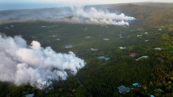 Vent sites in Leilani Estates subdivision at 6:30 a.m. Friday, May 4, 2018. The area has been evacuated due to fumes, fire and lava hazards. Photos by Steven Royston | Special to Hawaii 24/7