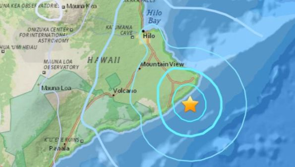 Epicenter of the quake at 11:53 p.m. Saturday, May 12, 2018.