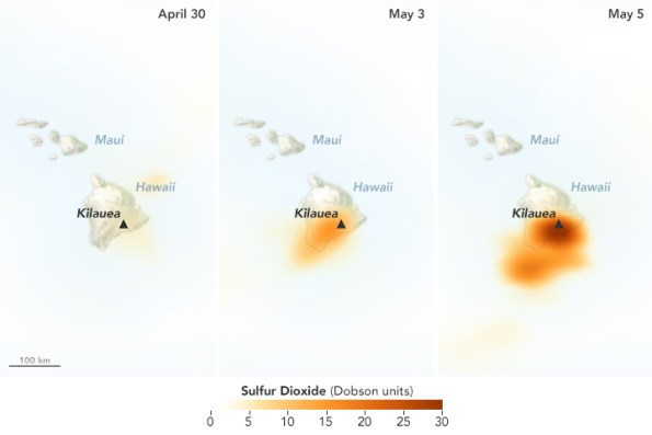 Sulfur Dioxide data acquired April 30 - May 5, 2018