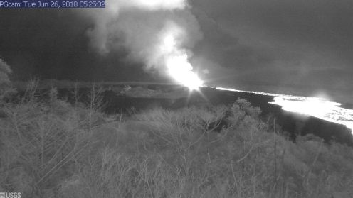 This image is from a temporary research camera positioned near Kapoho looking southwest. From left to right, one can see the eruptive fissures, with Fissure 15 on the far left, and Fissure 8 near the center. Webcam image taken Tuesday, June 26, 2018 courtesy of U.S. Geological Survey