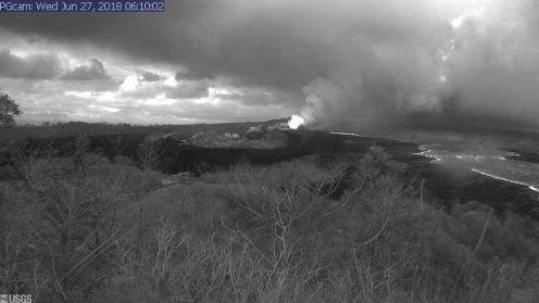 This image is from a temporary research camera positioned near Kapoho looking southwest. From left to right, one can see the eruptive fissures, with Fissure 15 on the far left, and Fissure 8 near the center. Webcam image taken Wednesday, June 27, 2018 courtesy of U.S. Geological Survey