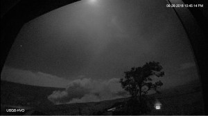 At 10:41 p.m. HST on June 26, after approximately 25 hours of elevated seismicity, a collapse explosion occurred at the summit producing an ash-poor steam plume that rose less than 1,000 ft above the ground surface before drifting to the southwest. The event was captured by an HVO webcam in moonlight (plume in bottom of photo), located in the HVO observation tower. Photo taken Wednesday, June 27, 2018 courtesy of U.S. Geological Survey