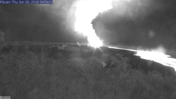 This image is from a temporary research camera positioned near Kapoho looking southwest. From left to right, one can see the eruptive fissures, with Fissure 15 on the far left, and Fissure 8 near the center.Webcam image taken Thursday, June 28, 2018 courtesy of U.S. Geological Survey
