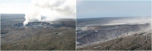 Then and now. It has proven difficult to exactly match past and present views of Kīlauea's summit to show the dramatic changes in the volcanic landscape, but here's our latest attempt. At left is a photo taken on November 28, 2008, with a distinct gas plume rising from the vent that had opened within Halema'uma'u about eight months earlier. At right is a photo taken on August 1, 2018, to approximate the 2008 view for comparison.