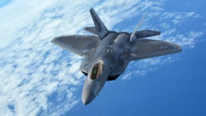 A 154th Wing Hawaii Air National Guard F-22 Raptor flies behind a 434th Air Refueling Wing KC-135 Stratotanker from Grissom Air Reserve Base, Indiana, near Hawaii during the Rim of the Pacific (RIMPAC) exercise, July 17, 2018. DOD Photo