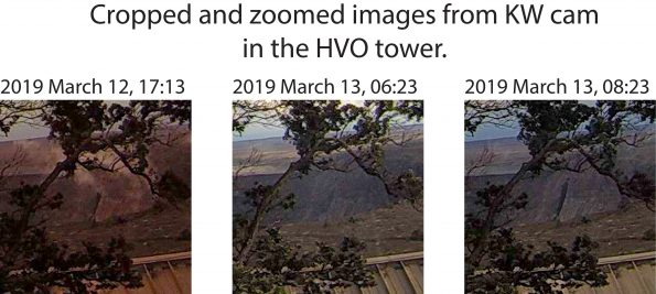 At 08:23 on March 13, 2019, the upper part of a gully along the western wall of the new Halema'uma'u crater failed, producing a rockfall. When geologists arrived at the summit at 09:00, rocks were still falling, and a small dusty plume was visible until 09:08. This rockfall was likely triggered by instability of the talus slope caused by water that has been trickling out of a round hole in the cliff face since July 2018, when the steep gully first formed. Photo taken Wednesday, March 13, 2019 courtesy of U.S. Geological Survey