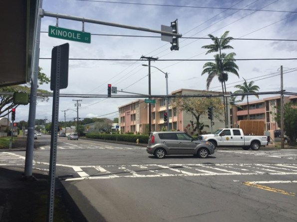 Traffic signal repair at theHualālai/ Kinoole intersection in Hilo on Sunday (April 14)