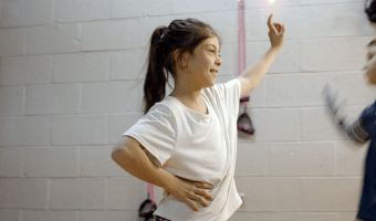 Girl attends practice at her dance studio before her dentist appointment.
