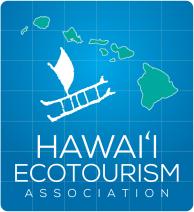 Hawaii Ecotourism Association Logo with Hawaiian Islands and a boat