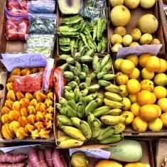 Tropical fruit display at a Maui farmers market