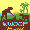 WWOOF Hawaii logo, permaculture wwoofers in a field