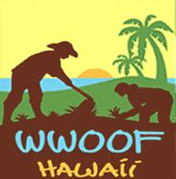 WWOOF Hawaii logo, permaculture wwoofers in a field