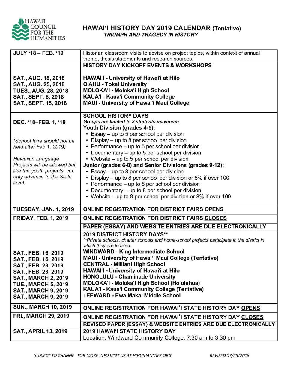 HHD Calendar 2018-2019