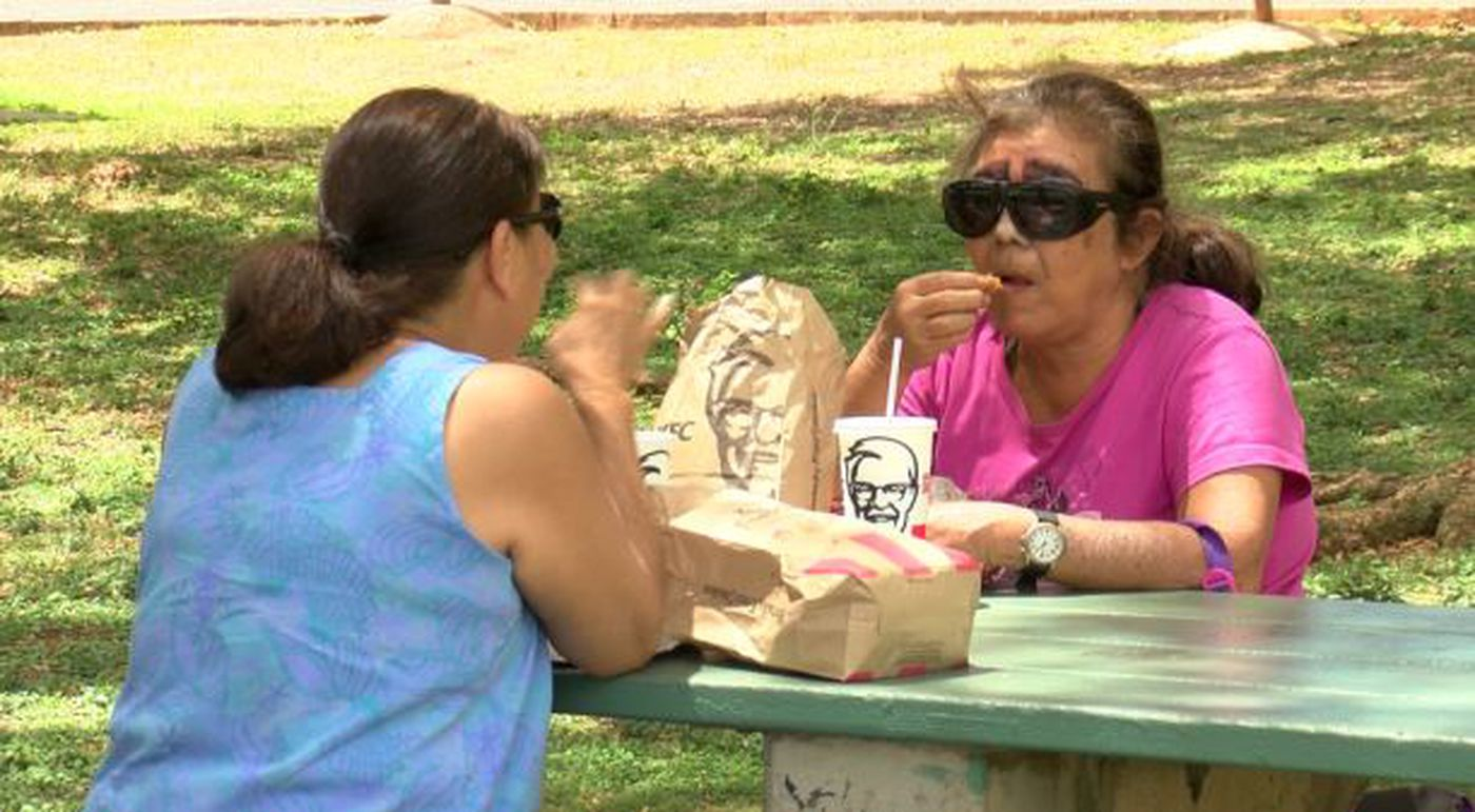 The sisters now regularly meet up for lunch. Jeanette Serikaku even recently did something her sister had never seen her do: She ordered. (Image: Hawaii News Now)