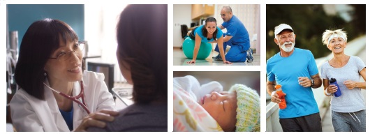 An assembly of different health related images. Doctor with patient, baby and physical therapy.