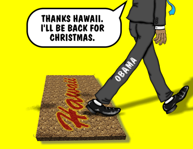 Obama cartoon, Obama shows no Aloha for Hawaii during APEC conference, treats Hawaii like a doormat