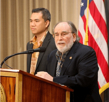 Budget director Kalbert Young with Gov. Neil Abercrombie