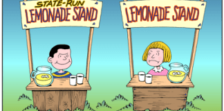 Government meddling in private business cartoon, state-run lemonade stand, pervasive government