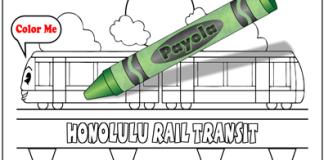 Color Honolulu Rail Transit with a Payola crayon, green for money, cartoon