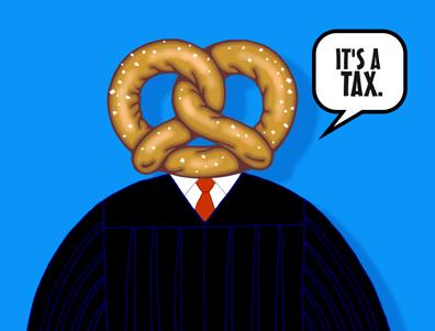 Chief Justice John Roberts cartoon, Roberts' pretzel logic, pretzel head
