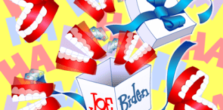 Joe Biden cartoon, Joe Biden laughs through Vice Presidential debate