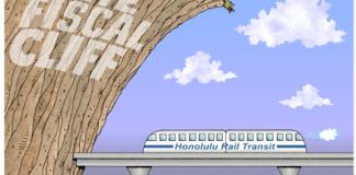 Honolulu rail cartoon, federal funding for rail meets the fiscal cliff