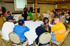 Chaplain (Capt.) Mike Derienzo, 2nd Squadron, 6th Cavalry Regiment Chaplain, 25th Combat Aviation Brigade discusses the different risk factors that can affect a marriage during the 25th CAB Strong Bonds Marriage Retreat at the Hale Koa Hotel in Honolulu June 27.