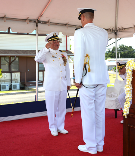 CAPT Williamson salutes as he transfers the command to CAPT Tufts.