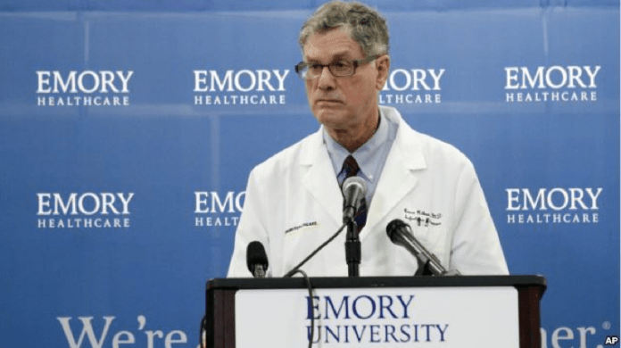 Professor of the Emory School of Medicine Infectious Disease Division Bruce Ribner speaks during a news conference at Emory University Hospital in Atlanta, Georgia, Aug. 1, 2014.