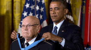 President Barack Obama bestows the Medal of Honor on retired Army Command Sgt. Maj. Bennie G. Adkins in the East Room of the White House in Washington, Monday, Sept. 15, 2014.